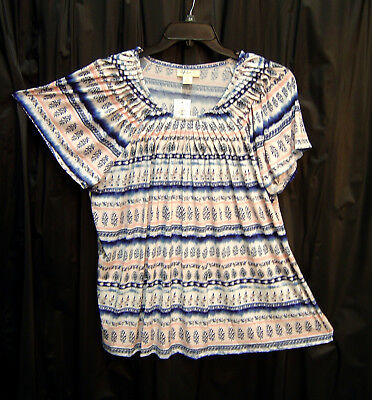 Style   Co Soft Slinky Knit Flutter Smock Boho Travel Tunic Top Blouse 3X 2X New