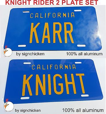 Knight Rider Trans Am  Knight     Karr  License Plate Set David Hasselhoff Kitt