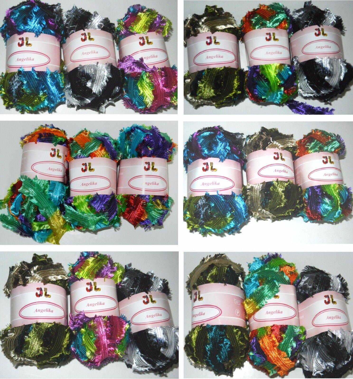 как выглядит Набор пряжи для вышивки 3 balls Fringe Ribbon Angelika shiny yarn YOUR CHOICE фото