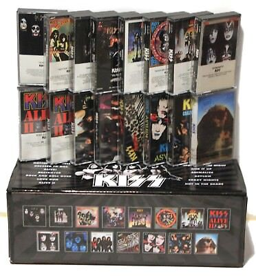 KISS - 16 cassette tapes in a custom, box set lot (15 used/1 new)