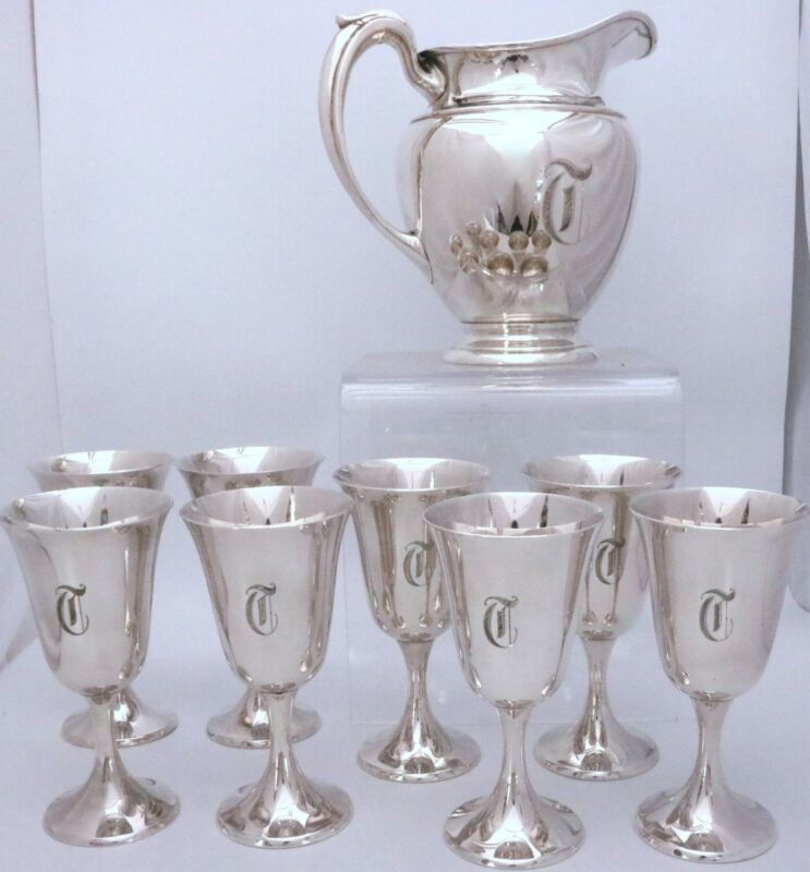 "Sterling Silver Pitcher and Goblets by Gorham 272 Set of 9 Pcs ""T"""