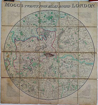 Antique maps, Mogg's twenty four miles round London, 1820