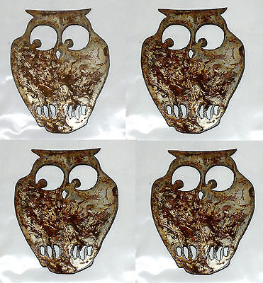 Lot Of 4 Barn Owl Birds Shapes 4 Rusty Metal Vintage Craft Sign Ornament