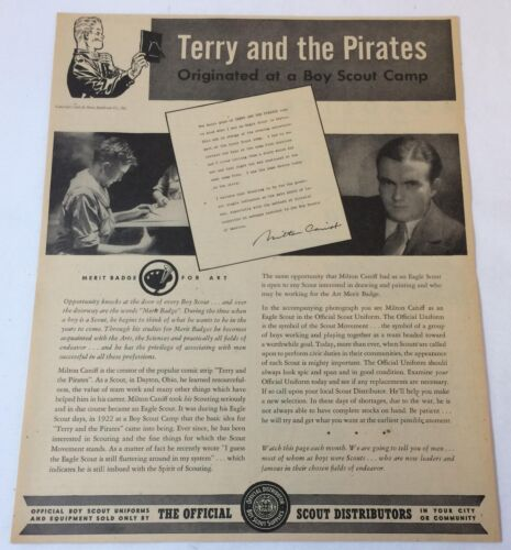1944 BOY SCOUTS ad page ~ Milton Caniff TERRY AND THE PIRATES ~ 10x12.5 inches
