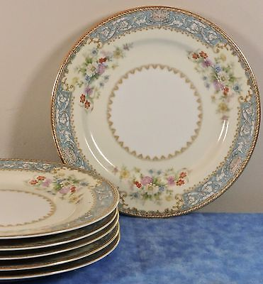 6 Noritake China CERULEAN Blue Bread Plates- Occupied Japan #4726- EUC- HTF