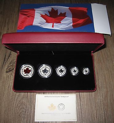 2015 CANADA 5 COIN SILVER MAPLE LEAF FRACTIONAL SET INCUSE RED ENAMEL   NO TAX