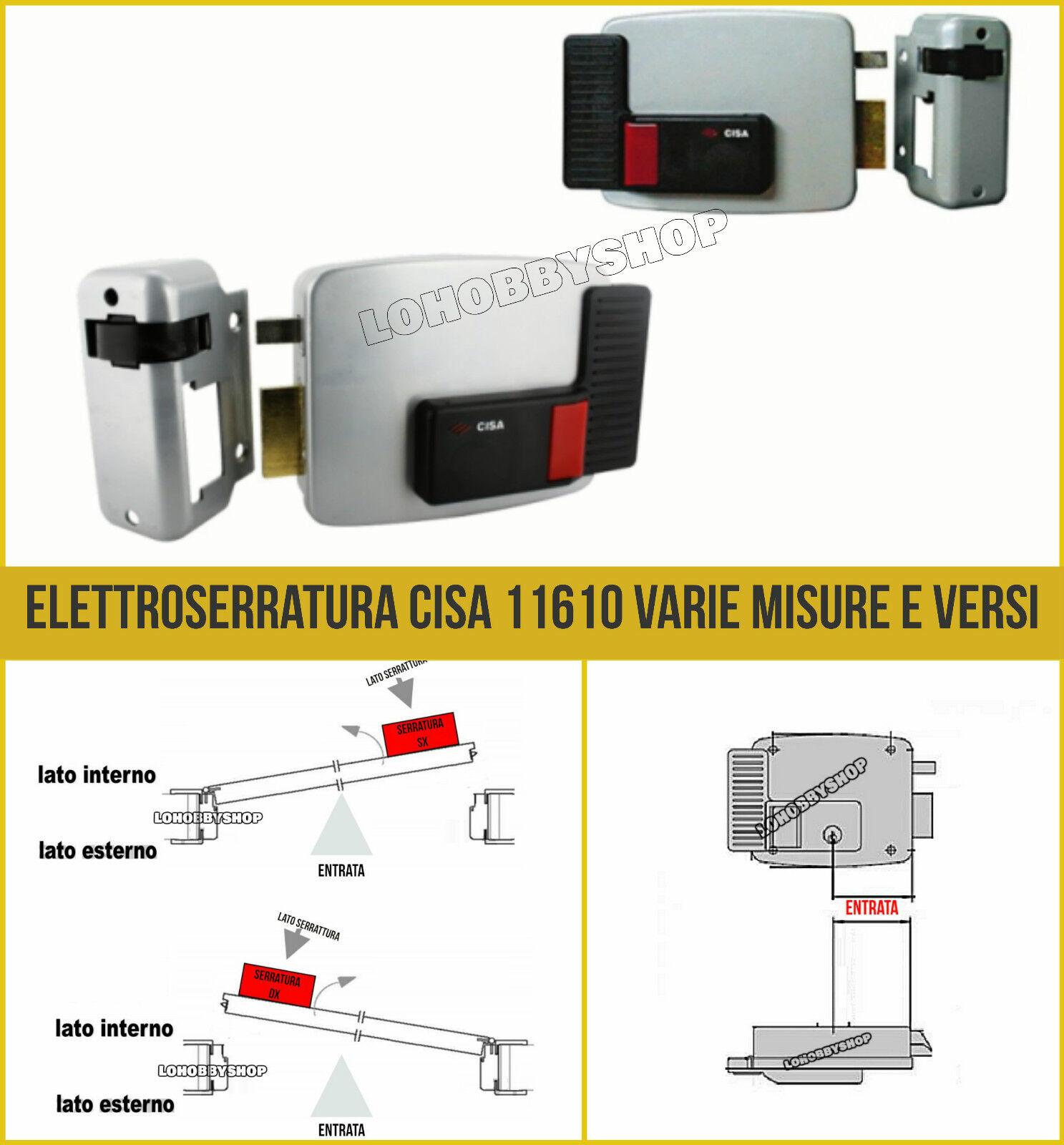 Serratura Elettrica da Applicare Cisa Art 11610 Misura 80 mm Verso Dx