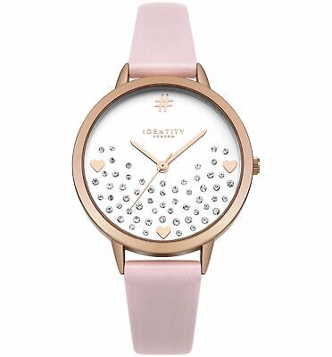 Identity Pink Faux Leather Strap Glitter Heart White Dial Analogue Watch
