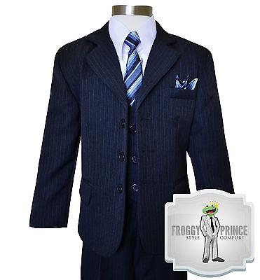 Boys Kids Formal Dark Navy Pinstripe Three Button Suit W/...