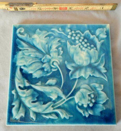 Antique Architectural tile Godwin & Hewitt blue flower British registry ca. 1894