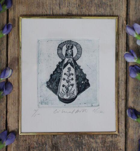 Virgin San Juan Print Etching Brass & Glass Framed by Abelar Mexican Folk Art