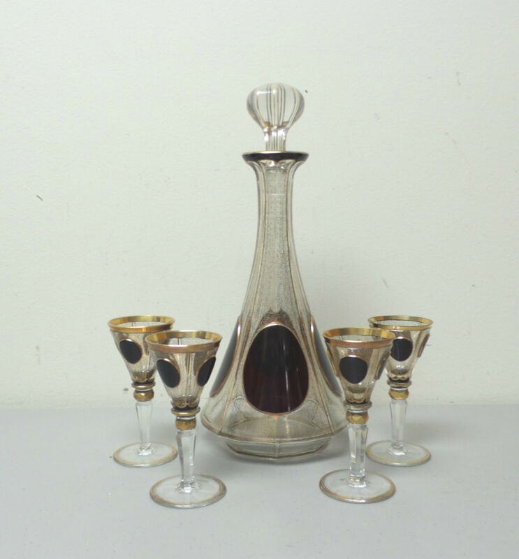 STUNNING 5-PIECE MOSER ART GLASS RUBY & GILT DECORATED DECANTER & CORDIAL SET