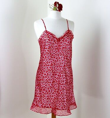 Morgan Taylor Short Nightgown M Pink and Red Hearts Valentines Honeymoon Bride