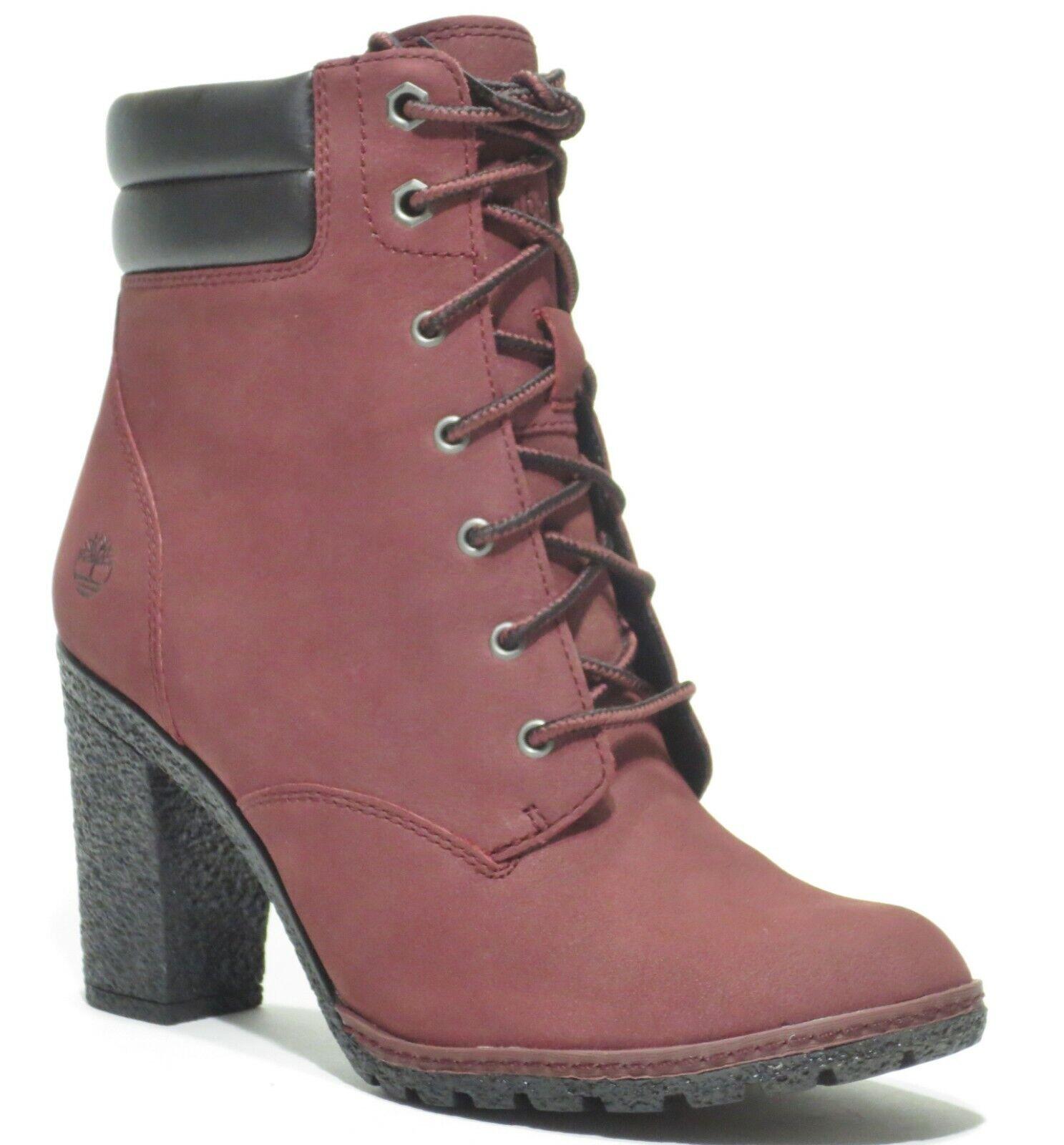 Timberland Women's Tillston High Heel Brown Burgundy 6 inch Leather Boots A1ZVU