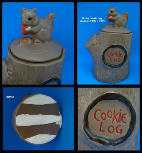 McCoy * * * * Squirrel on COOKIE LOG * * * 1965-1969 Vintage Ceramic Cookie Jar