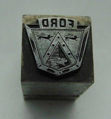 Vintage Printing Letterpress Printers Block All Lead Ford Logo