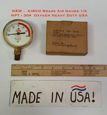 New - Airco Brass Air Gauge 14 Npt - 30 Oxygen Heavy Duty Usa