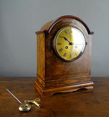 Antique French Walnut Mantel Clock by Jean Vincenti Paris c1860 Chiming 8 Day
