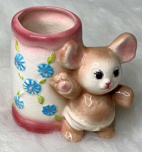 Vintage Nursery Planter Vase Teddy Bear Pink Numbered Floral