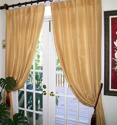 2Pc.  Drapes Curtains, finest quality 100% natural silk fabric 50