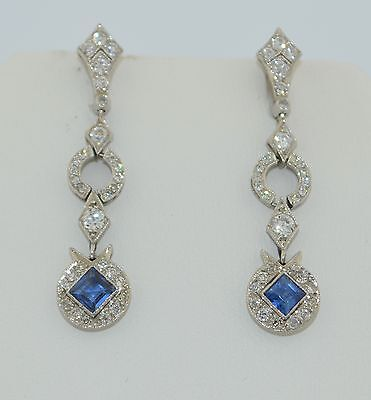 Art Deco Platinum & 14K Ceylon Sapphire & Diamond Earrings