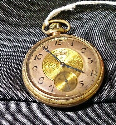 1927 Gold Plated Wadsworth Elgin Pocket Watch - works - 16s - 7 jewels