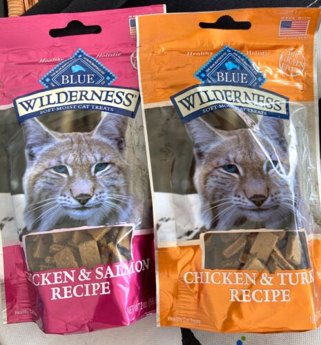 3 bags Blue Wilderness Grain-Free Soft Cat Treats Chicken-Turkey 2 oz