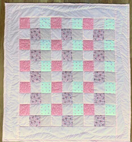 "Baby Quilt Handmade Girls Pink Patchwork Crib Blanket 38""x38"" NEW"