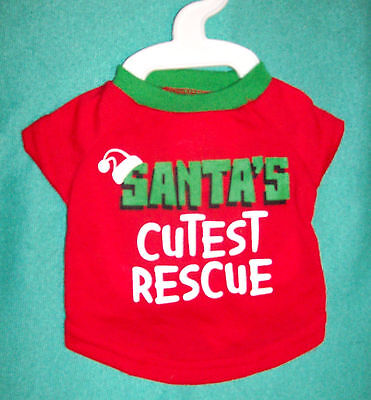 """NEW Size XS Red Green """"Santa's Cutest Rescue"""" Dog T-Shirt Clothing == 50% STFBR"""
