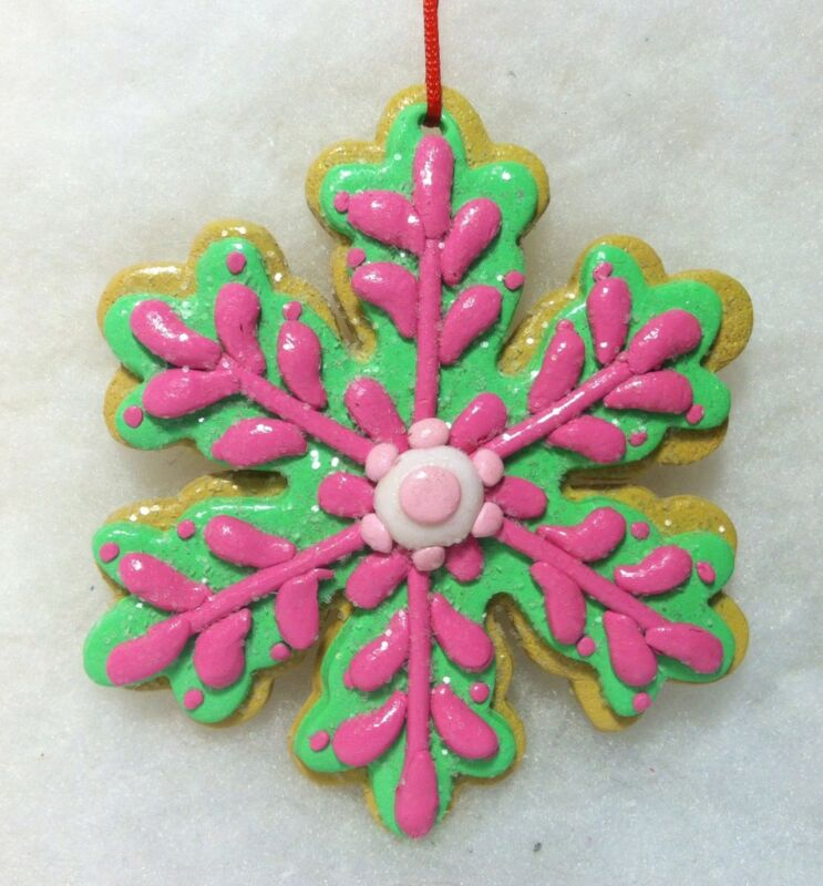 Snowflake Cookie Christmas Tree Ornament pink, sweets, decorated