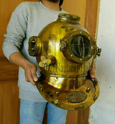Nautical Wooden Divers Diving Helmet wood base Antique Gift for Navy Divers