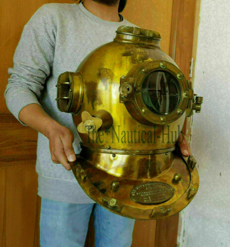 "Diving Helmet U.S Navy Mark V Deep Sea ~ Antique Scuba Vintage 18"" Divers Helmet"