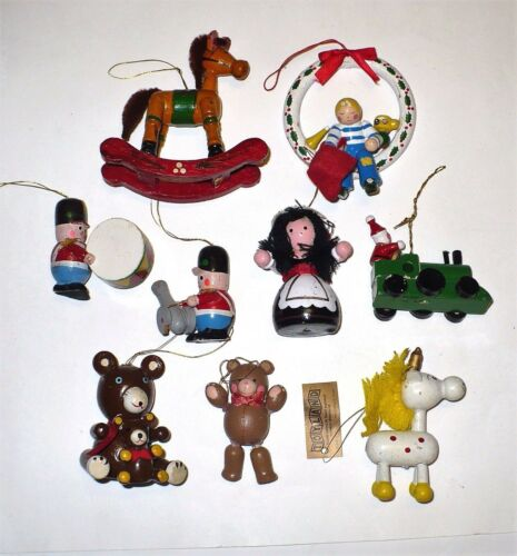 VINTAGE CHRISTMAS WOODEN TREE ORNAMENTS 9 PCS. CUTE