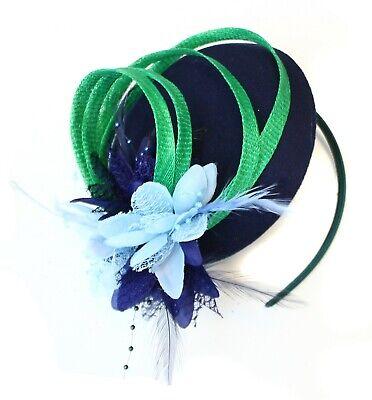 Emerald Jade Green Blue and Navy Fascinator Headband Wedding Hat Pillbox Ascot](Blue And Green Wedding)