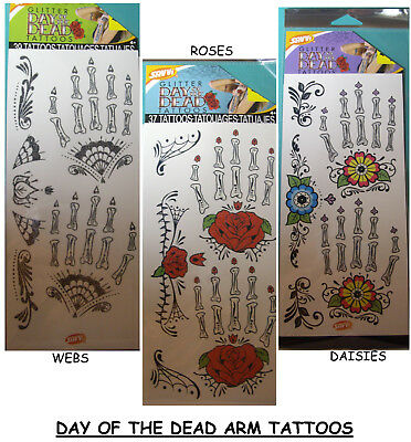 NEW Arm & Hand DAY OF THE DEAD GLITTER TATTOOS  * Your Choice * Bones SAVVI](Day Of The Dead Tattoos)