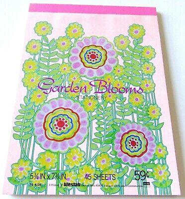 Vintage Stationery Letter Pad Garden Blooms Pink -
