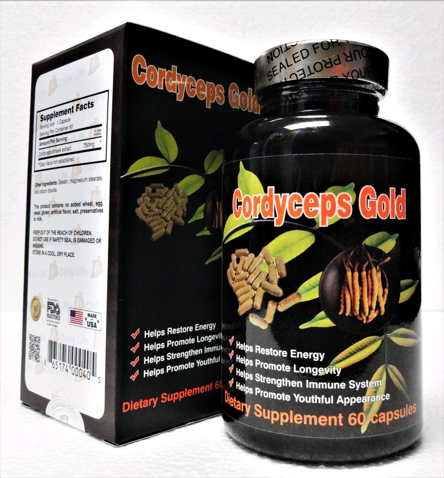 DONG TRUNG HA THAO - Dailylife  CORDYCEPS GOLD -750mg 60 capsules Made in USA