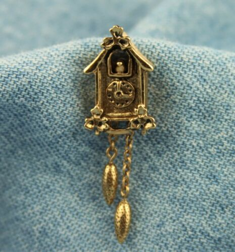 "Vintage 1981 Avon ""Cute Cuckoo"" Cuckoo Clock w/ Dangling Weights Tack Pin"
