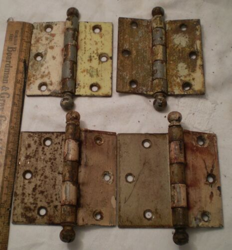 Vintage Hinges Brass Heavy  Stanley Sweetheart Ball Top 4 Count