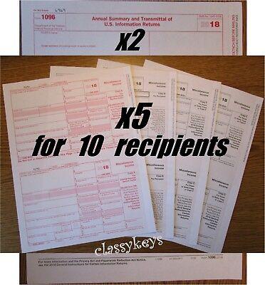 2018 Irs Tax Form 1099-misc 10 Recipients 2 1096 Laserinkjet 4-part Tf6103