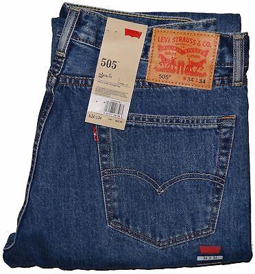 Stonewashed Jeans - Levis 505 Regular Fit Jeans Medium Blue Stonewash #4891