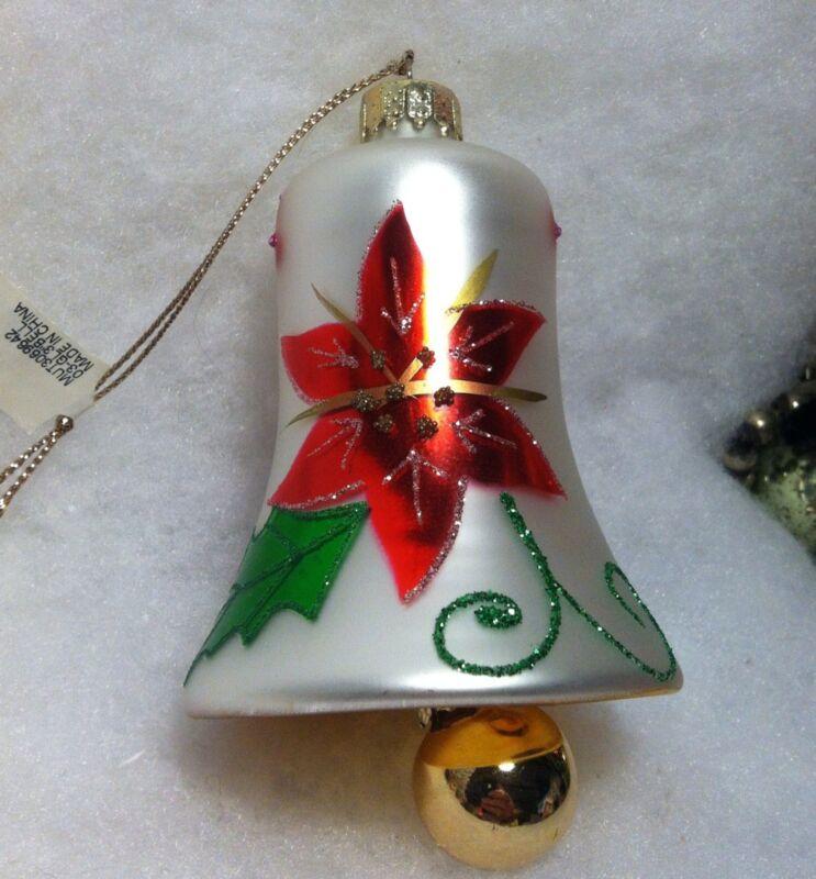 Poinsettia Bell w Clapper Christmas Tree Ornament Martha Stewart