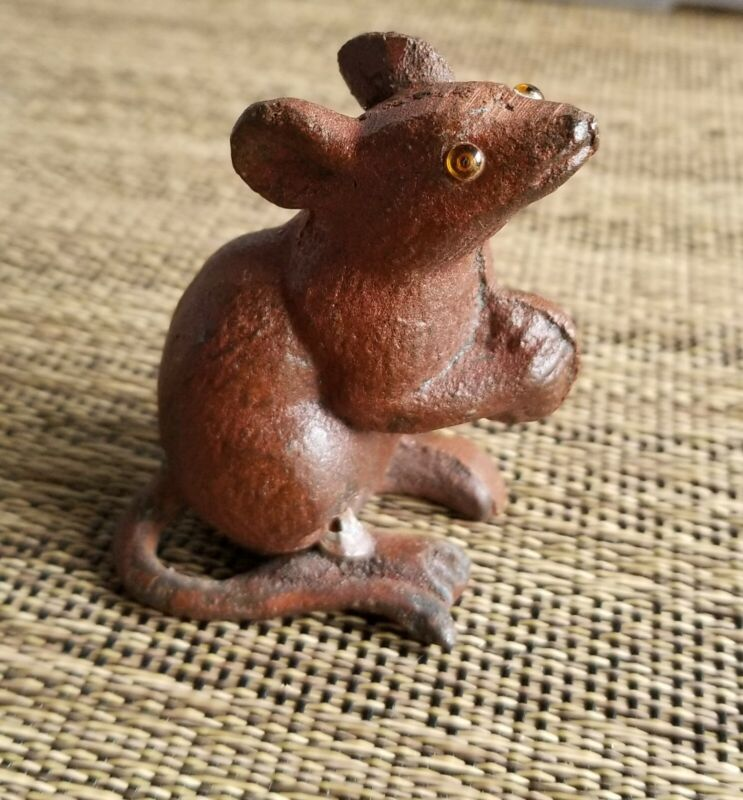 Cast Iron Little Whimsy Mouse With Glass Eyes