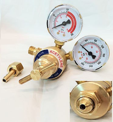 Rear Mount Acetylene Gas Welding Welder Brass Regulator Pressure Gauge Victor