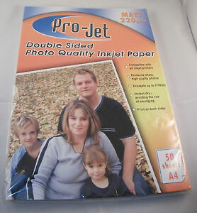 50 SHEETS PROJET DOUBLE SIDED MATT PHOTO PAPER PROJET A4 220gsm