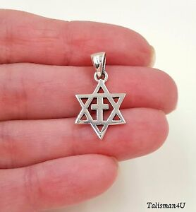 925 Sterling Silver MESSIANIC Pendant Necklace Star Of David With Cross HolyLand