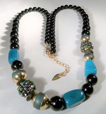 Coldwater Creek Necklace Blue Black Sparkly Beads 34