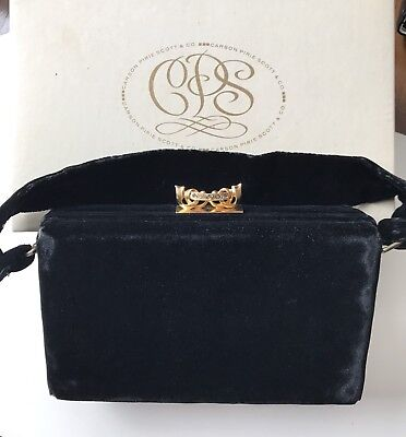 VTG Upscale Edwards Bag Ltd Jeweled Encrusted Closure BOX Evening Bag Black Felt