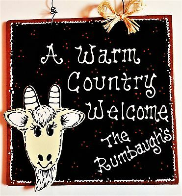 Personalized GOAT Warm Country Welcome SIGN Name Wall Door Hanger Family Plaque