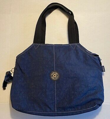 Vintage Kipling Navy Blue Private Transport Nylon Bag Purse Tote w/ Keychain